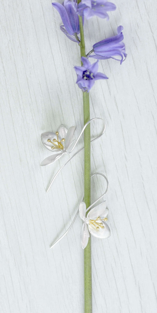 Lovely Clematis Flower Inspired Silver Drop Earrings