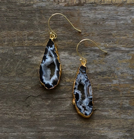 Natural Jasper Druzy Stone Earrings