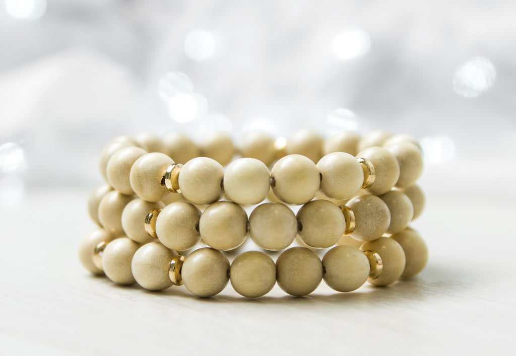 Natural Wood With Gold Accents Beaded Bracelet