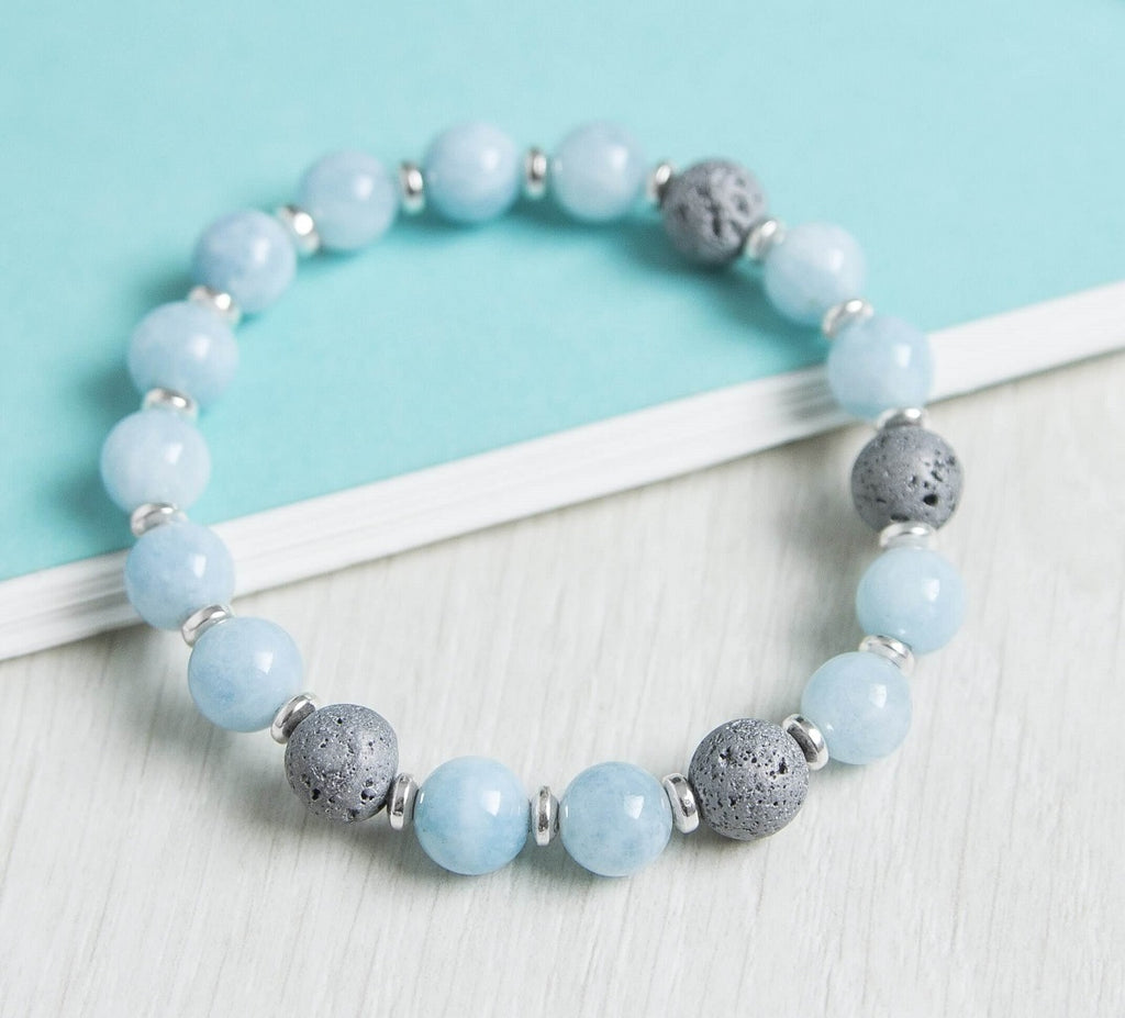 'Calm Emotions' Aquamarine And Lava Rock Essential Oil Diffuser Bracelet