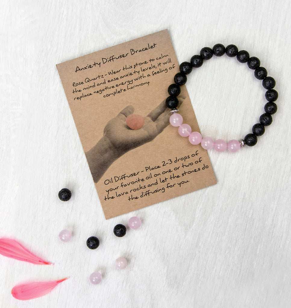 Anxiety Bracelet - Rose Quartz and Lava Stone Diffuser Bracelet