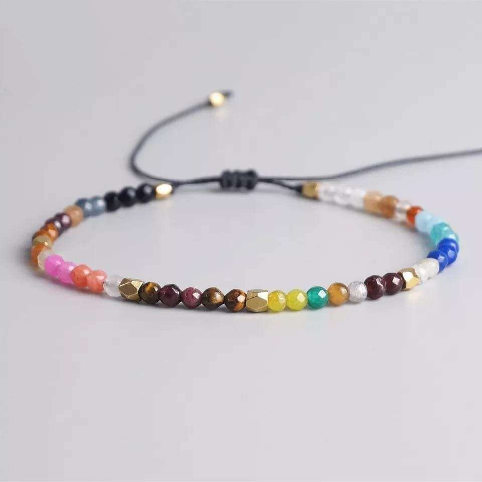 7 Chakra Natural Stones Beaded Bracelet Bracelets BeAdornedUK Colourful
