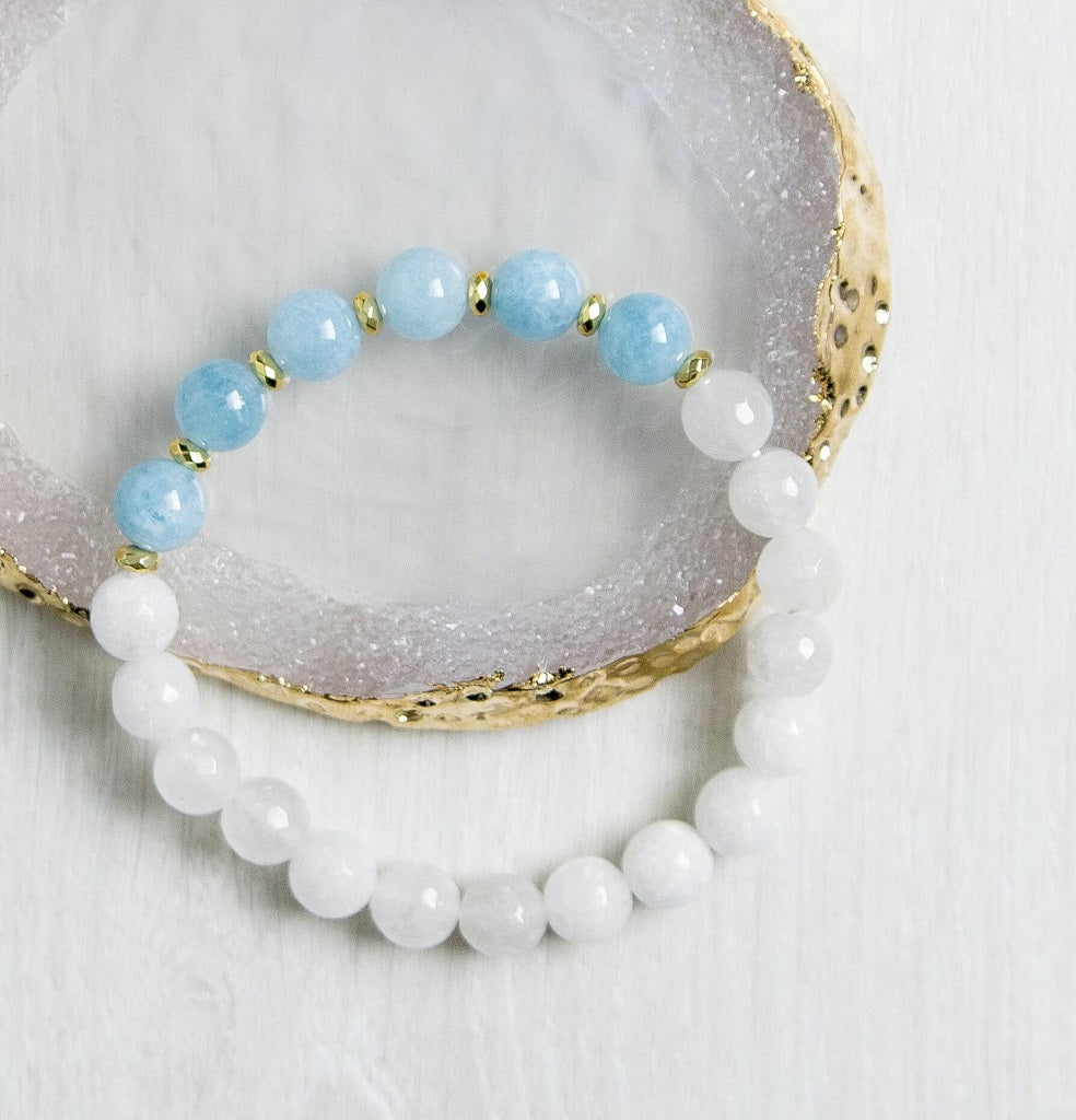 'Restful Soothing' Aquamarine And White Crystal Quartz Bracelet