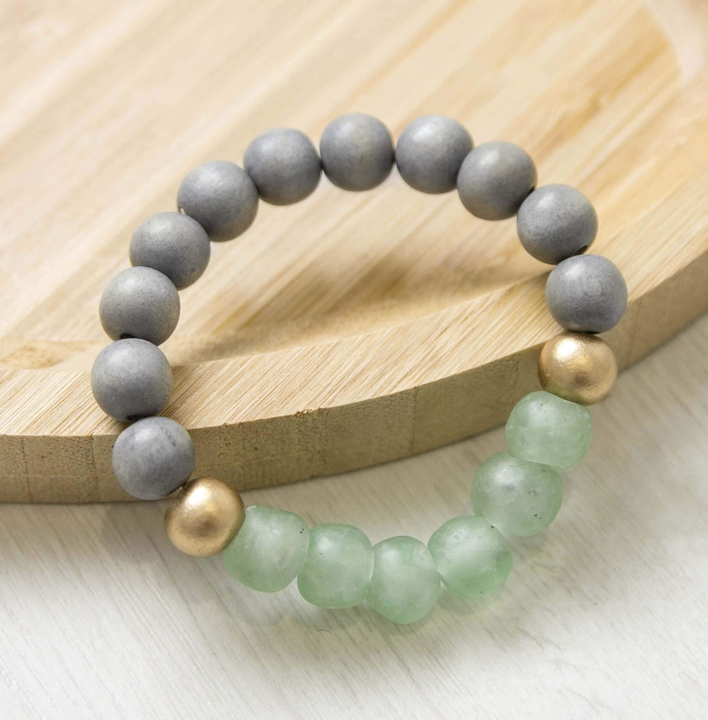 Natural Mystery In Green Beaded Bracelet