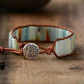 Amazonite Natural Stone Leather Wrap Bracelet
