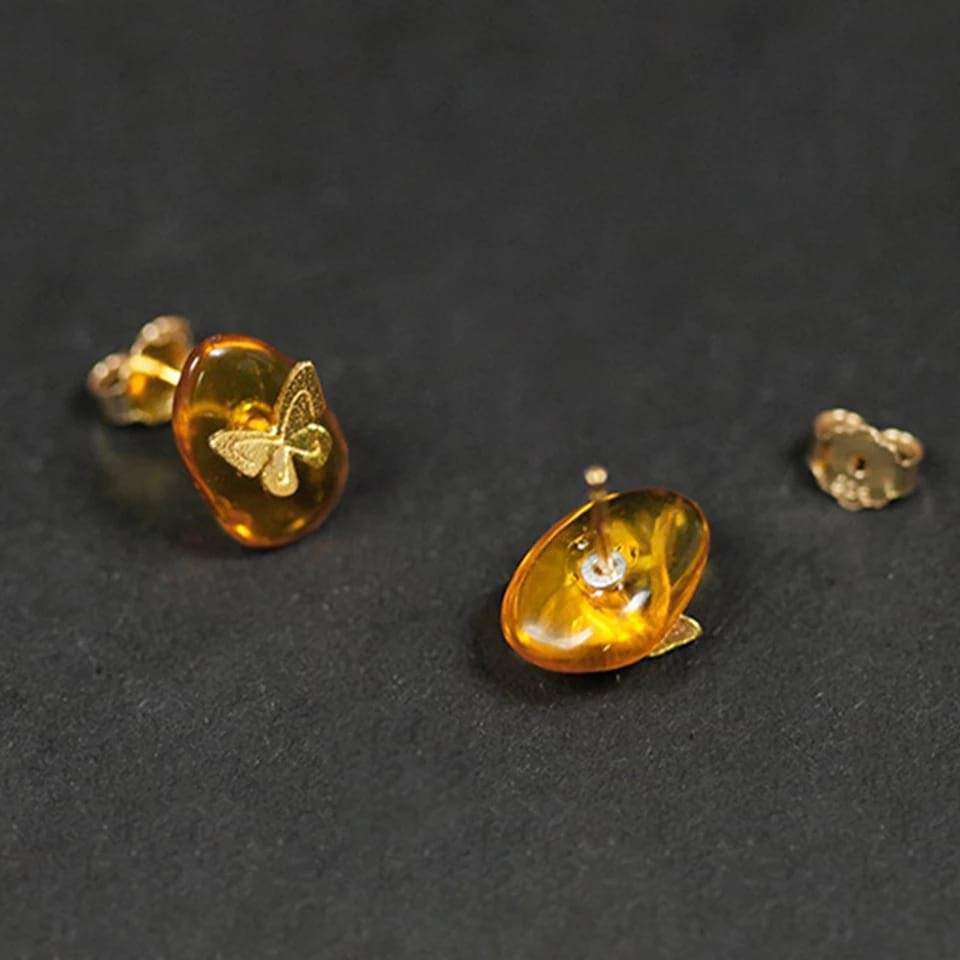 Amber Butterfly Silver Stud Earrings Earrings BeAdornedUK