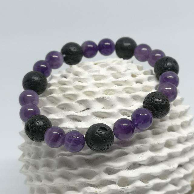 Amethyst And Lava Rock Diffuser Bracelet