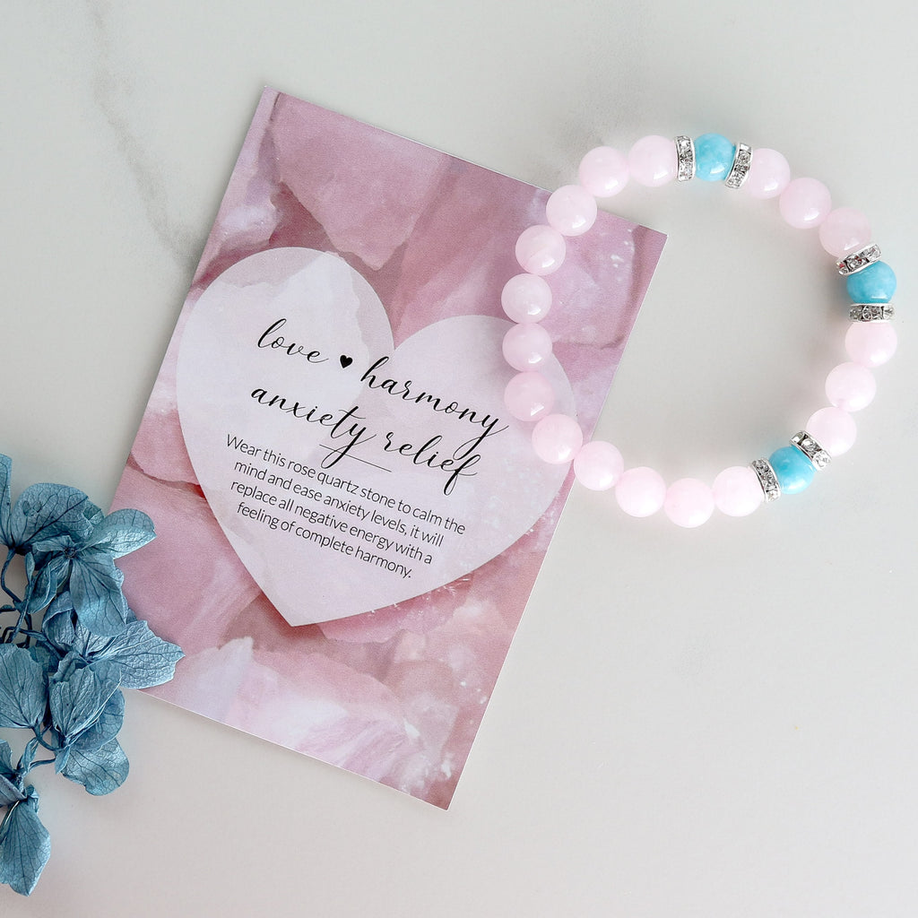 Anxiety Relief Rose Quartz Healing Crystals Handmade Bracelet