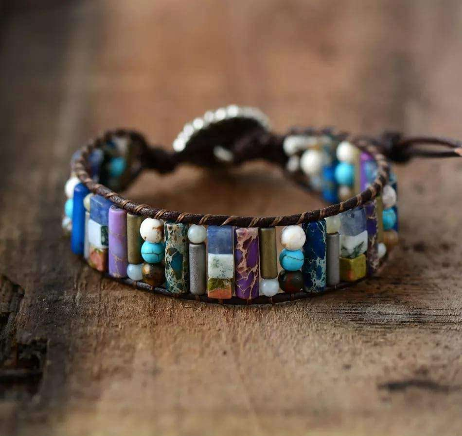 Beaded Bracelet Wrap Handmade Leather And Natural Stones