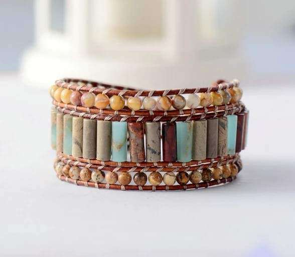 Beaded Cuff Bracelet Leather 3 Layers Natural Stones Bracelets BeAdornedUK