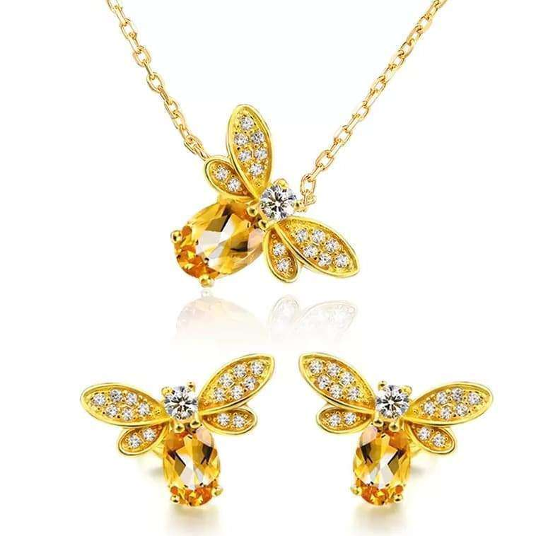 Bee Citrine Sterling Silver Jewellery Set