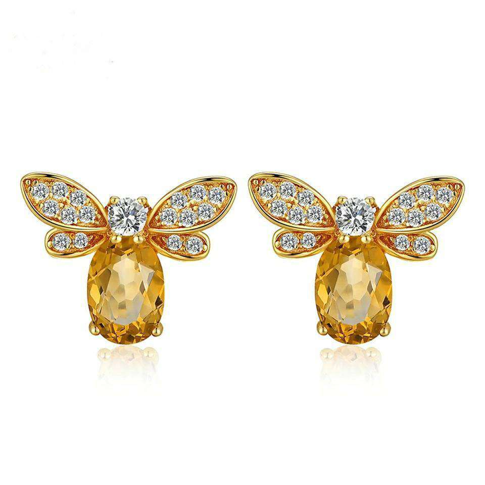 Bee Citrine Sterling Silver Stud Earrings Earrings BeAdornedUK