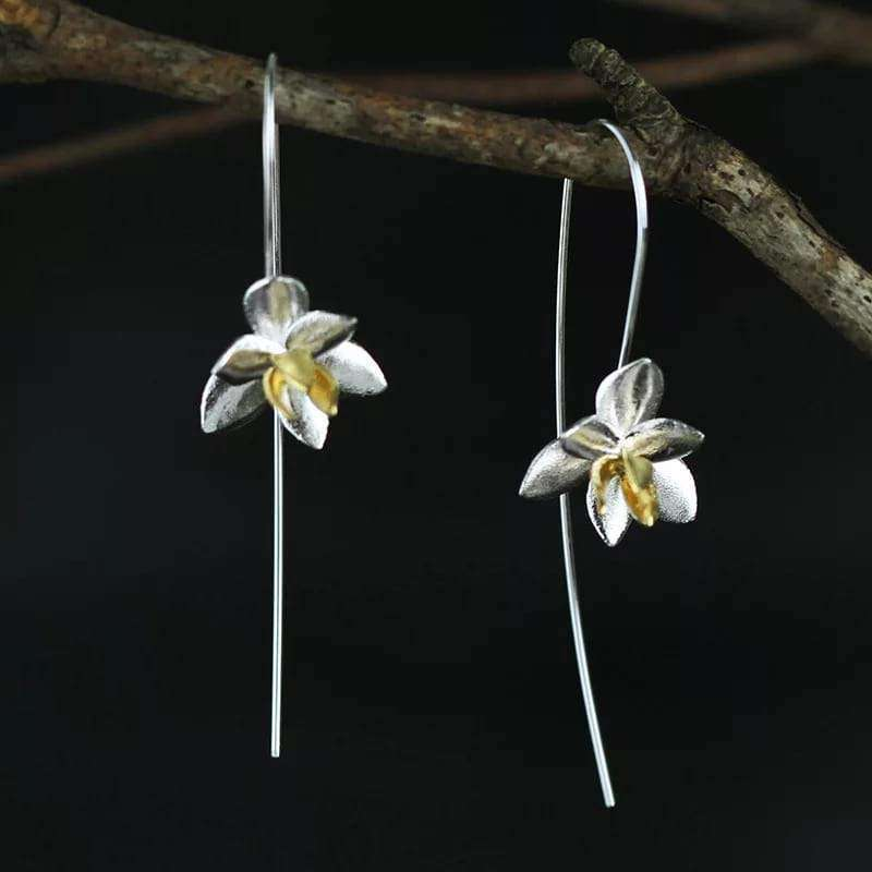Blossom Flower Silver Drop Statement Earrings