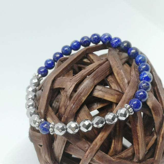 'Blue Goddess' Lapis Lazuli and Hematite Natural Stones Bracelet