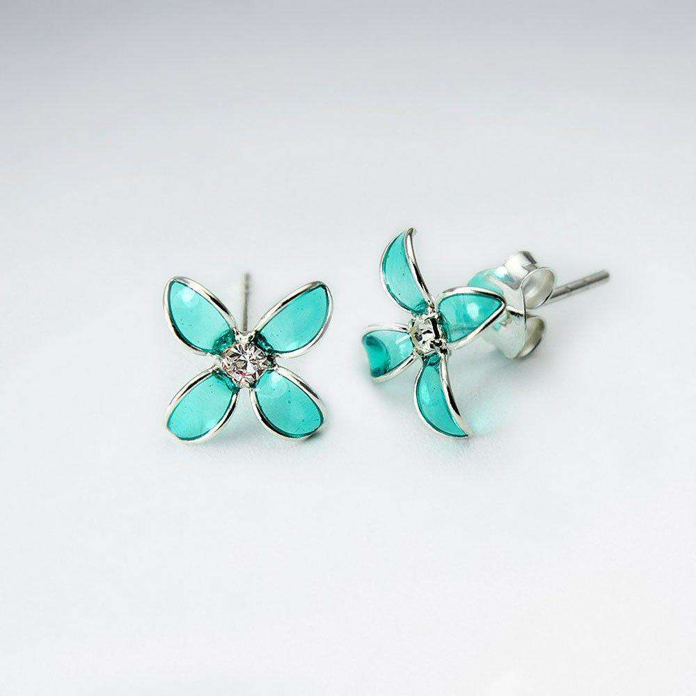 Bluets Flower Silver Stud Earrings