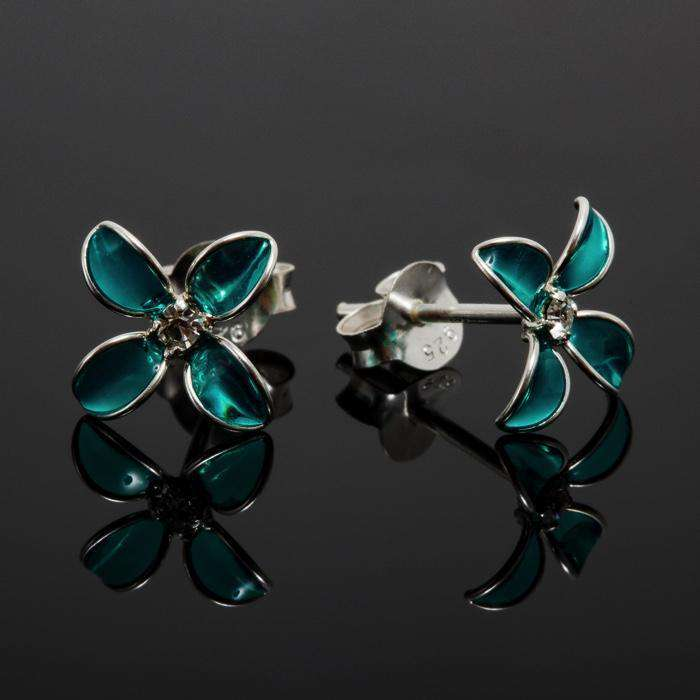 Bluets Flower Silver Stud Earrings Earrings BeAdornedUK