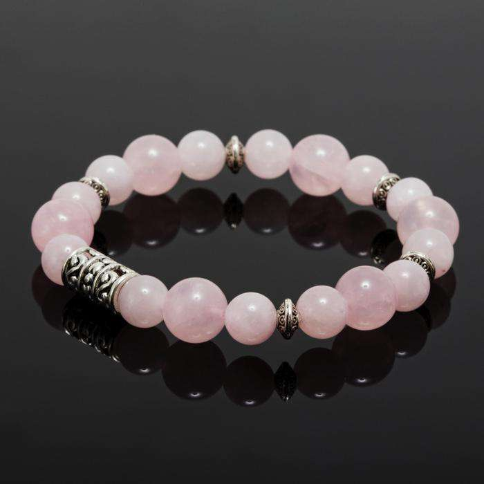 Bracelet Set With Rose Quartz And Lava Stone