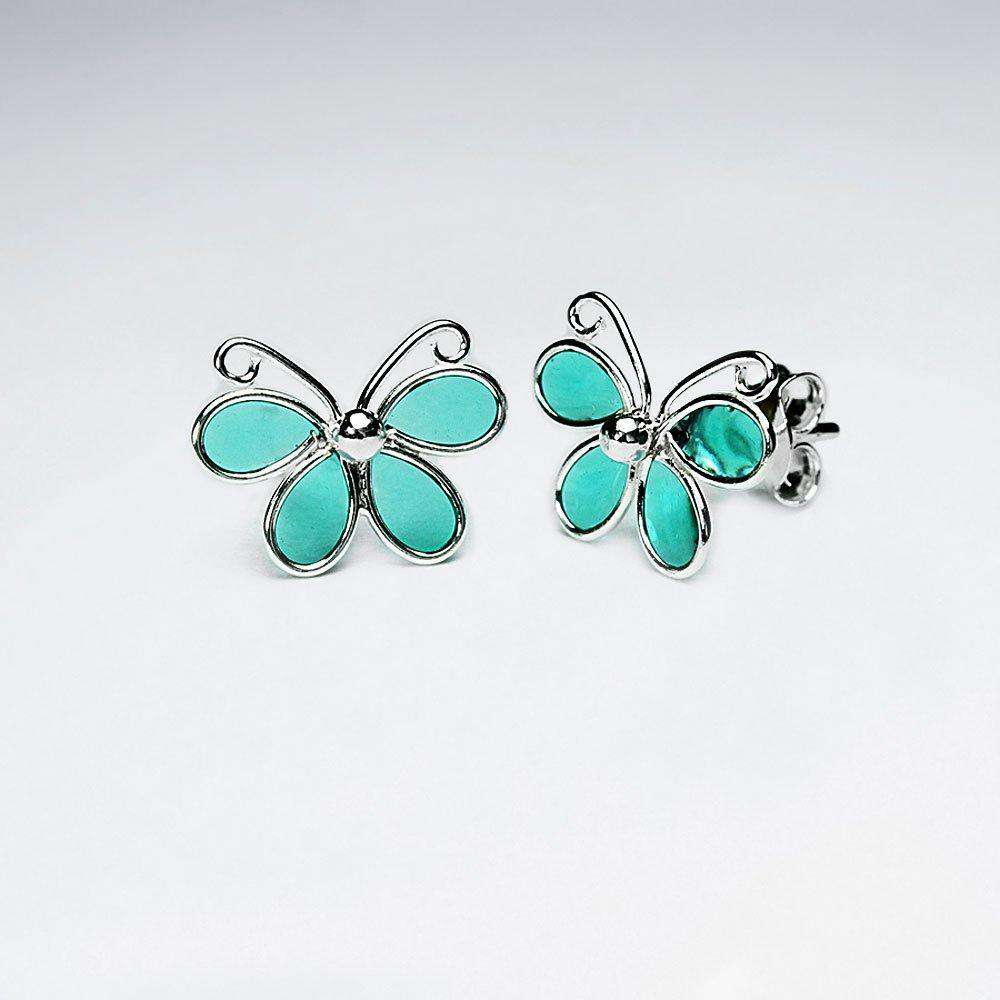 Butterfly Silver Stud Earrings Earrings BeAdornedUK Green