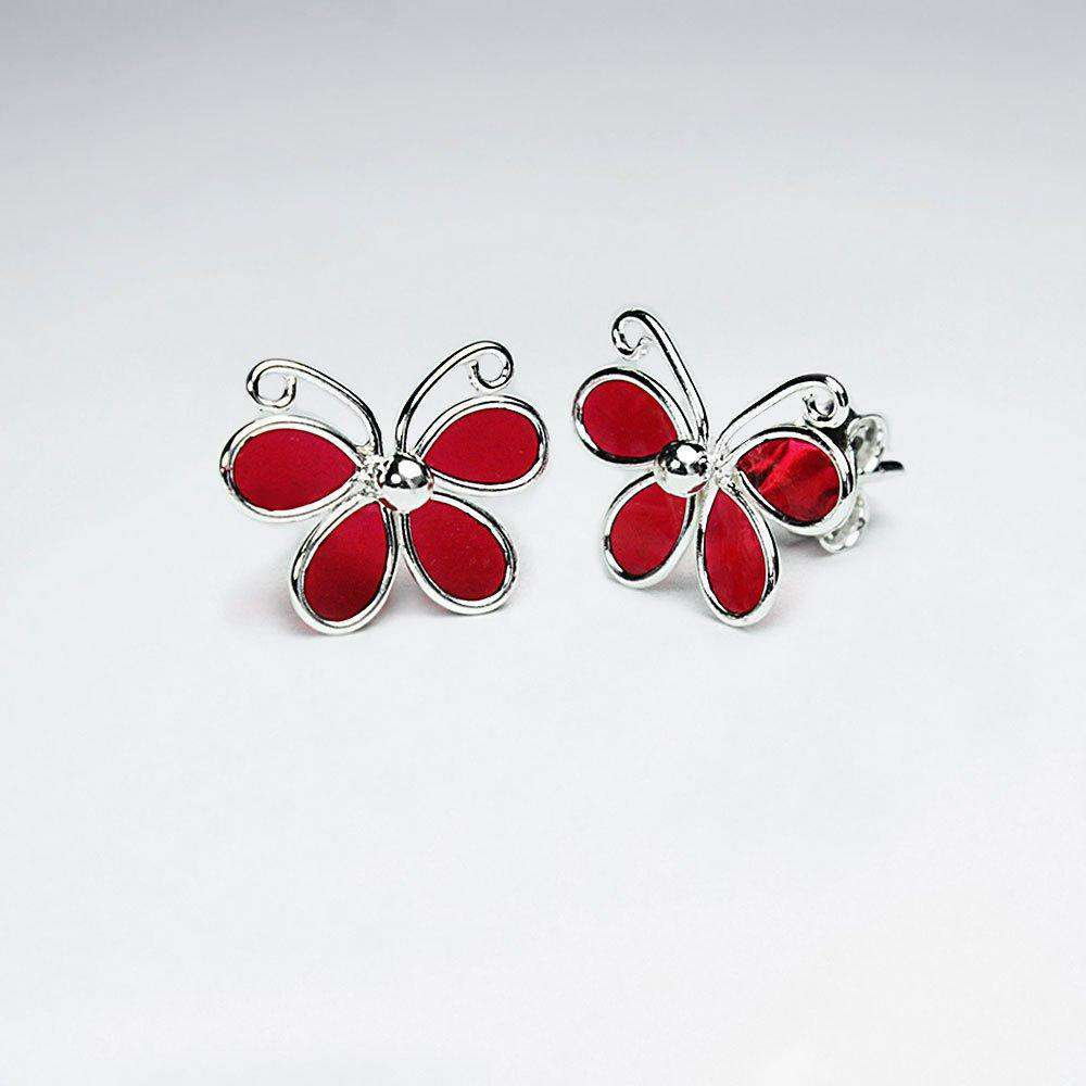 Butterfly Silver Stud Earrings Earrings BeAdornedUK Red