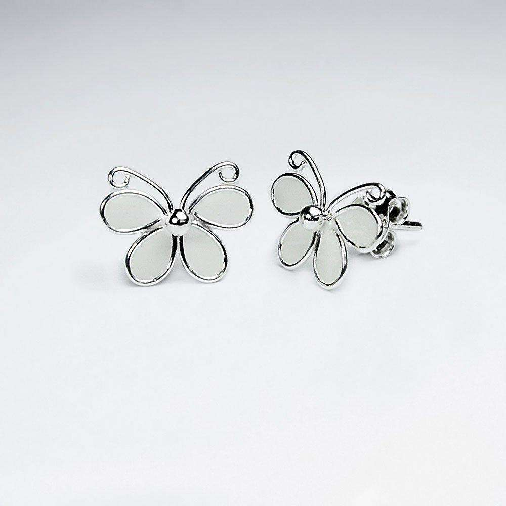 Butterfly Silver Stud Earrings Earrings BeAdornedUK White