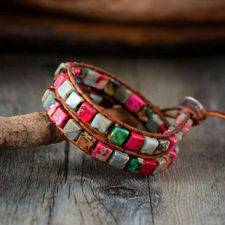 California Boho Women's Bracelet Handmade Leather And Natural Stones