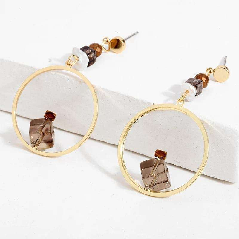 Smoky Quartz Earrings - 'Circle' Teardrop Earrings