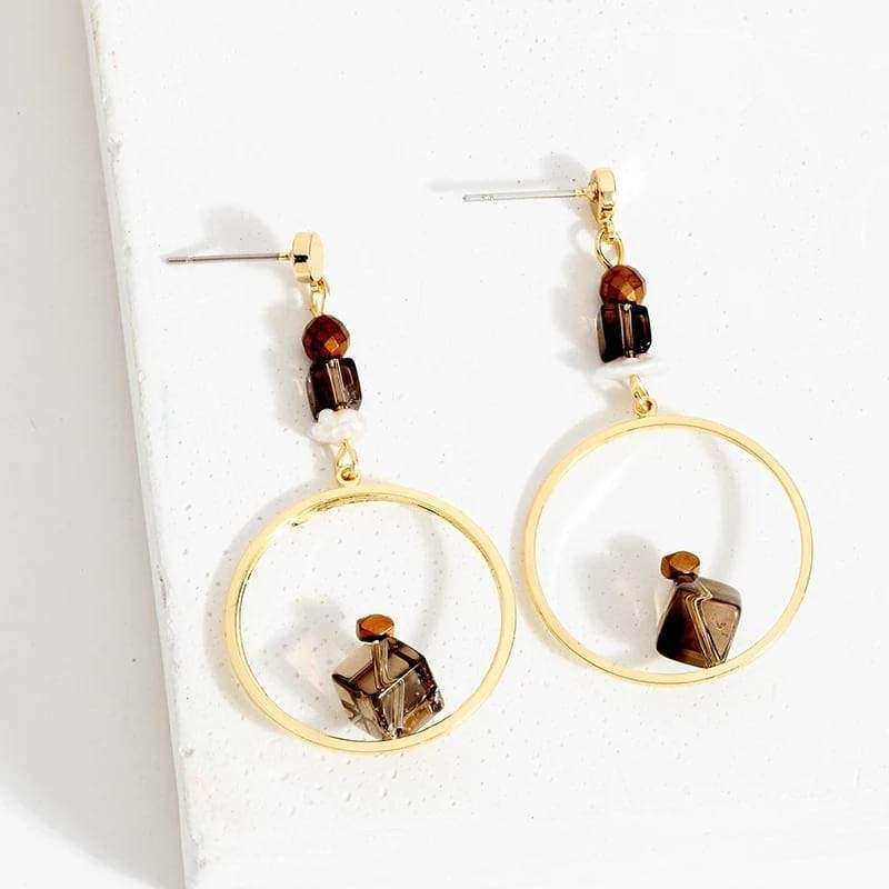 Circle Smoqy Quartz Dangle Earrings