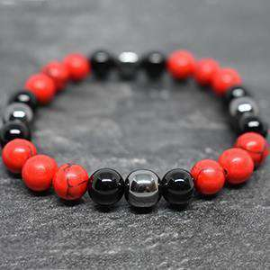 Courage Beaded Bracelet Red Turqoise and Black Agate