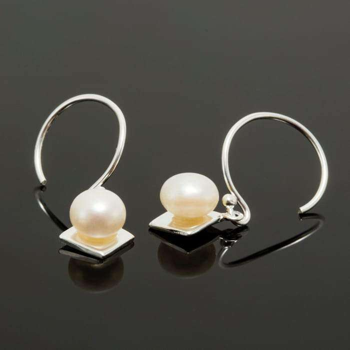 Diamond Shape Silver Pearl Drop Earrings Earrings BeAdornedUK