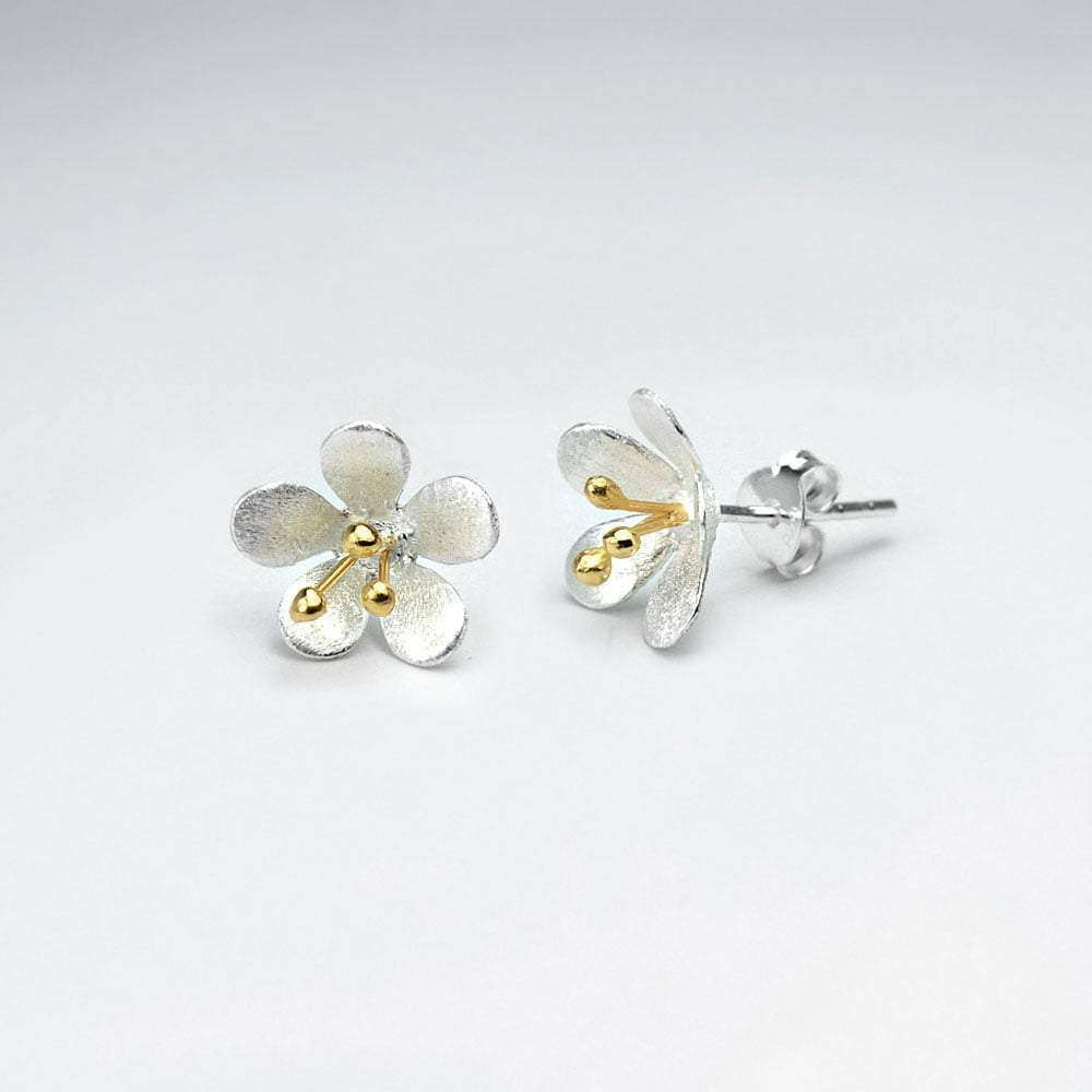 Flower Blossom Silver Stud Earrings