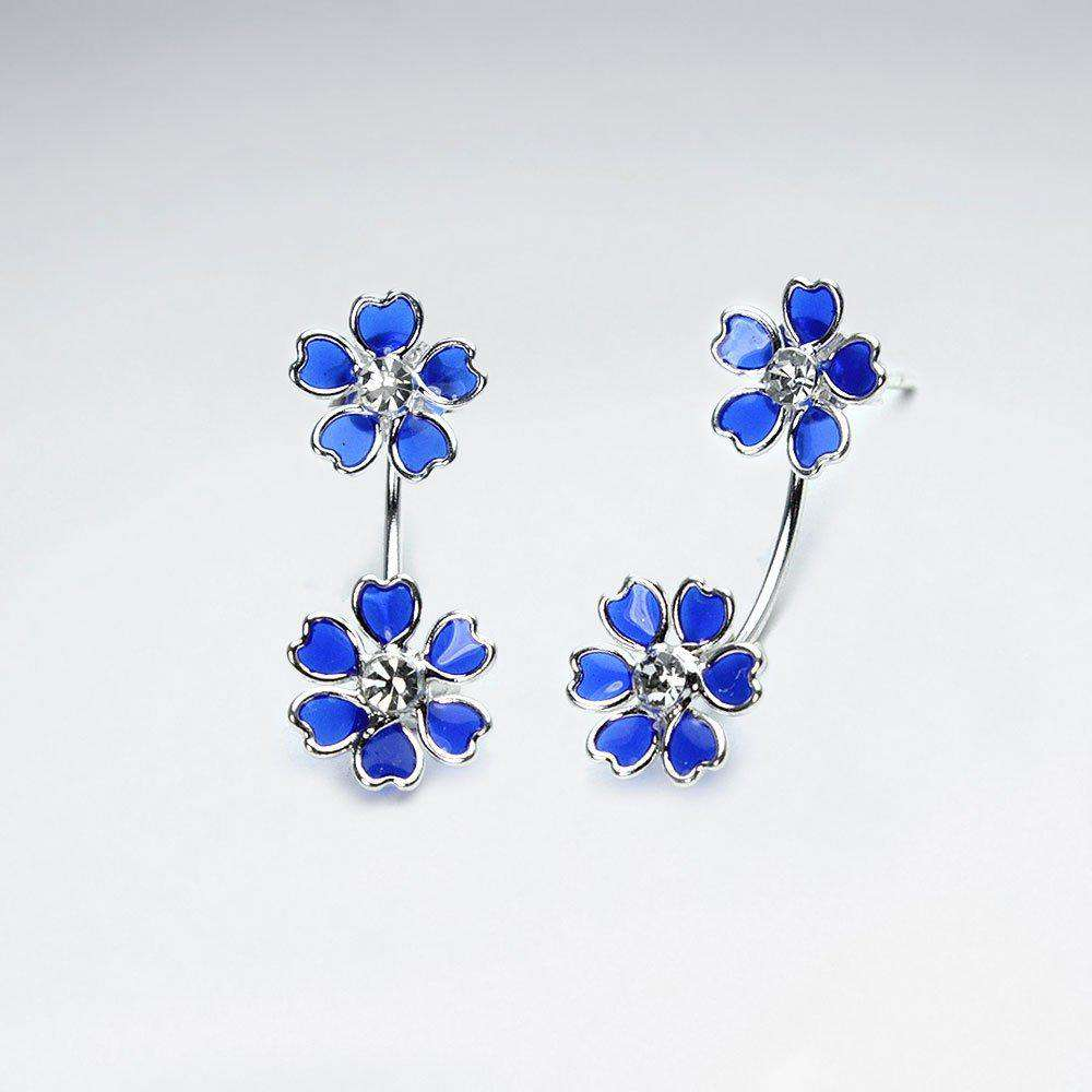 Flower Bouquet Stud Drop Earrings in Sterling Silver Earrings BeAdornedUK Blue