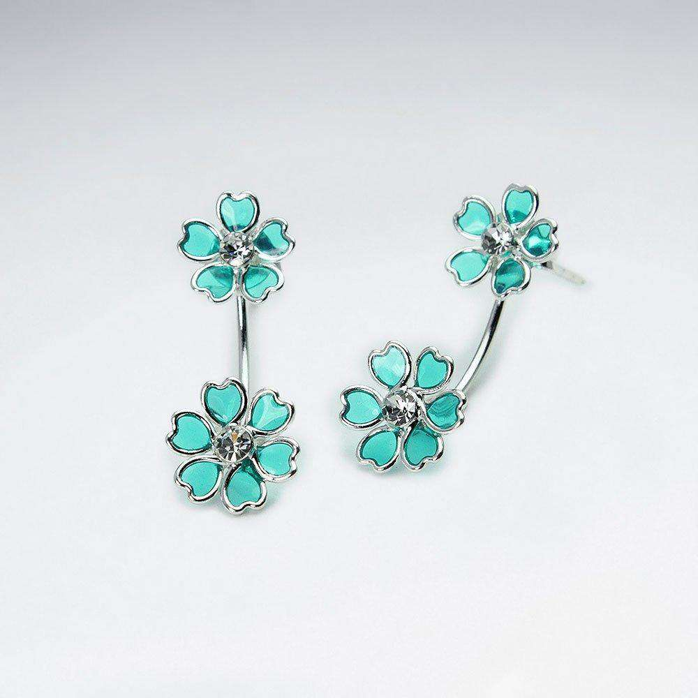 Flower Bouquet Stud Drop Earrings in Sterling Silver Earrings BeAdornedUK Green