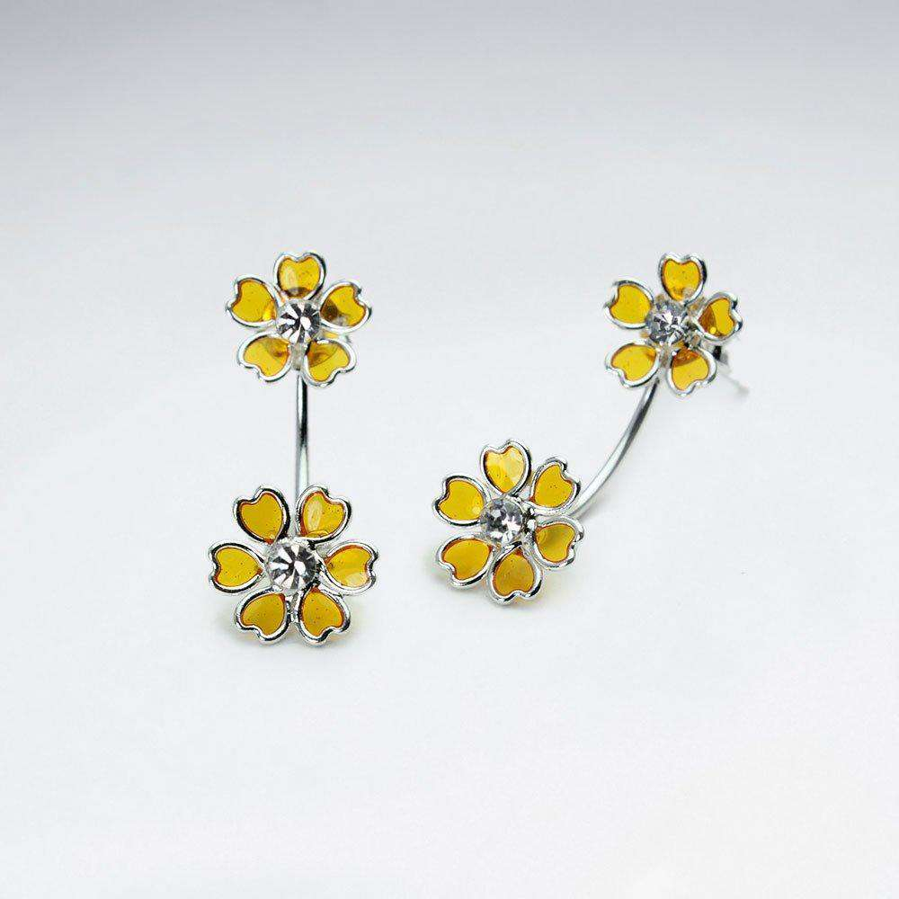 Flower Bouquet Stud Drop Earrings in Sterling Silver Earrings BeAdornedUK Yellow