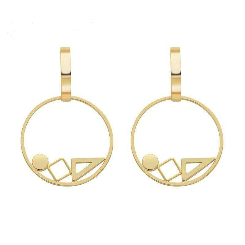 Geometric Gold Drop Earrings Earrings BeAdornedUK