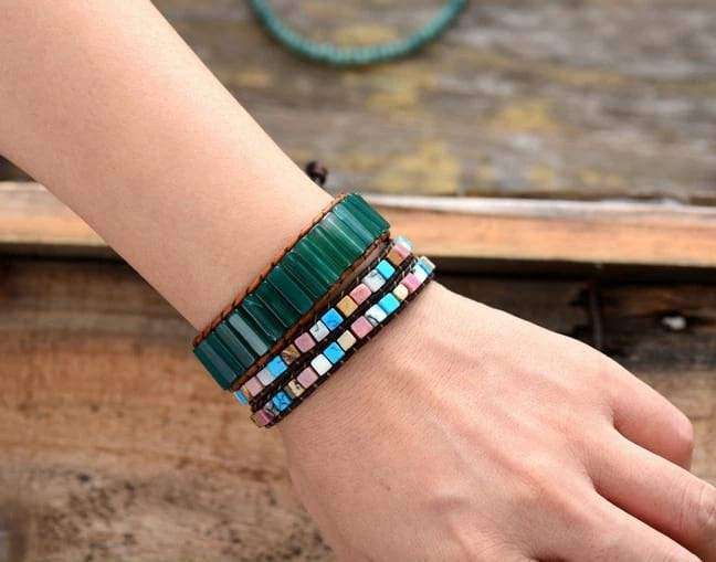 Green Onyx Boho Leather Wrap Bracelet
