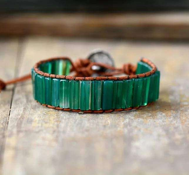 Green Onyx Boho Leather Wrap Bracelet Bracelets BeAdornedUK