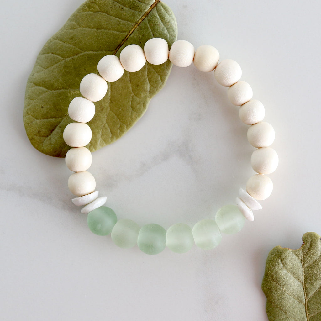 Sea Glass And Wood Beads Bracelet