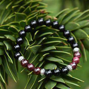 Healing Crystals Bracelet Garnet And Black Agate