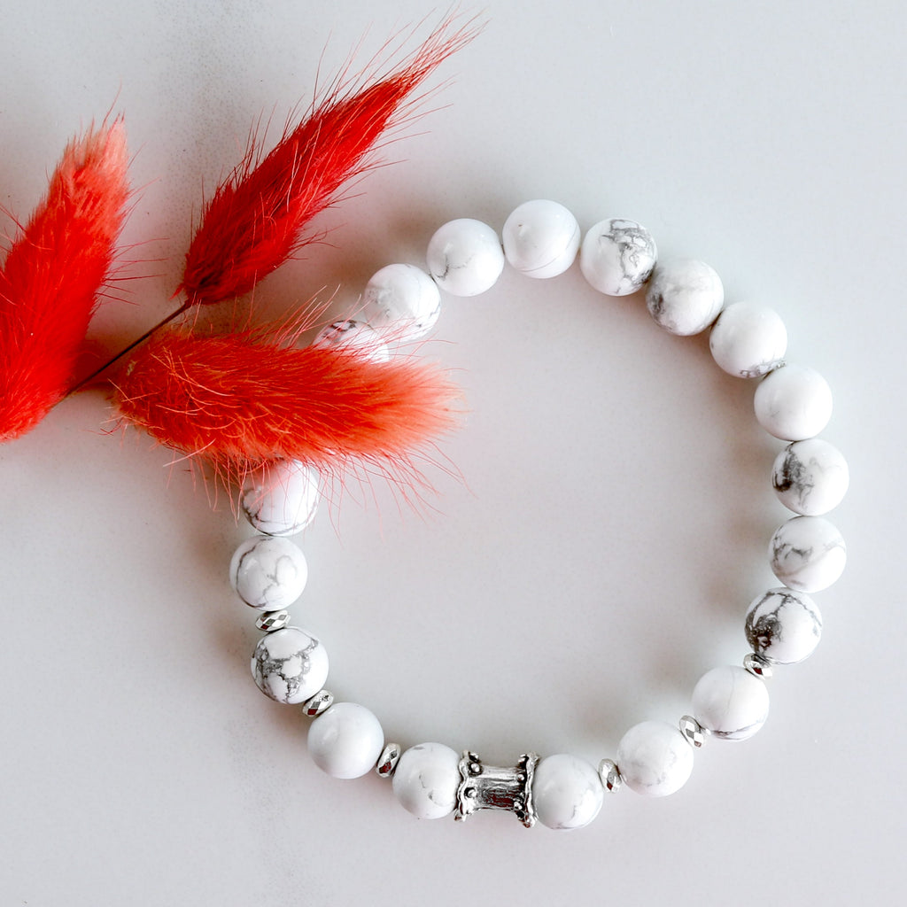 'Stay Calm' Howlite Beads Bracelet