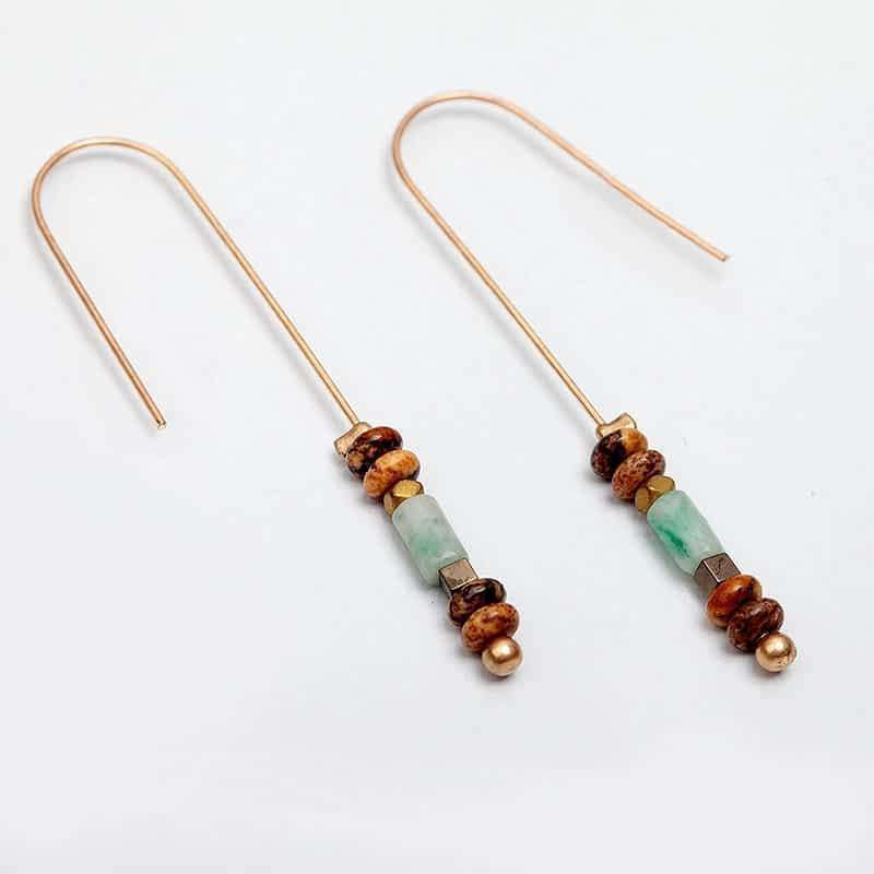 'Infinity' Colourful Drop Long Earrings Natural Stones