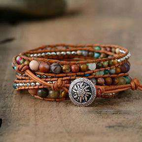 Leather Wrap Bracelet With Natural Stones Bracelets BeAdornedUK
