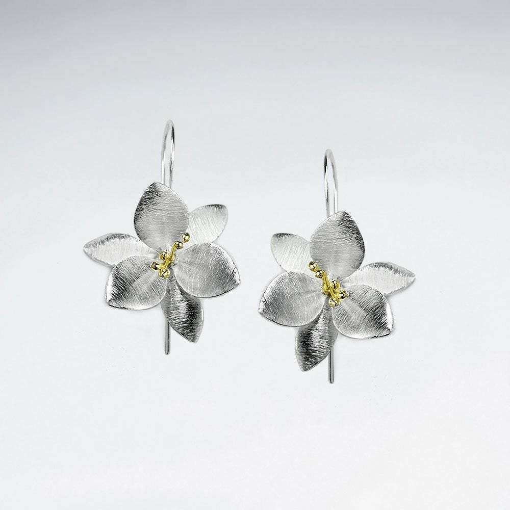 Lovely Clematis Flower Inspired Silver Drop Earrings Earrings BeAdornedUK