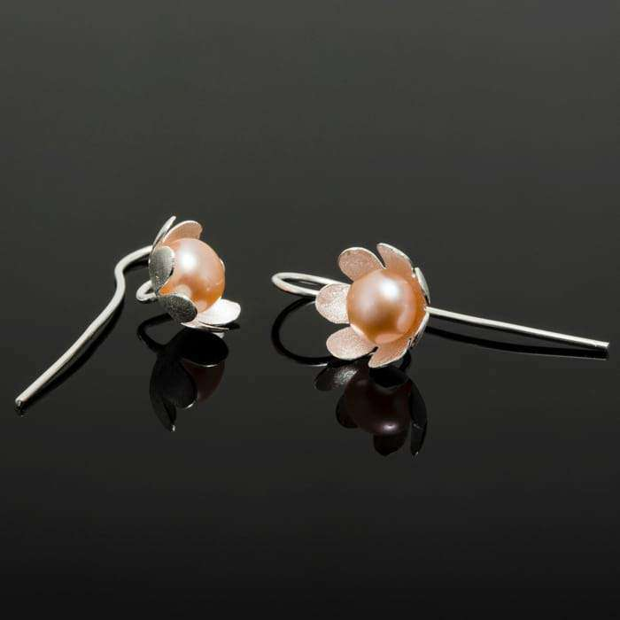 Matte Silver Cream Pearl Studded Flower Earrings