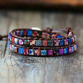 Moon River Leather Wrap Bracelet With Natural Stones