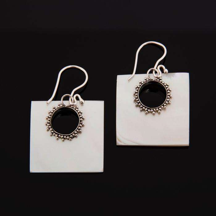 Mother Of Pearl Square Silver Dangle Earrings