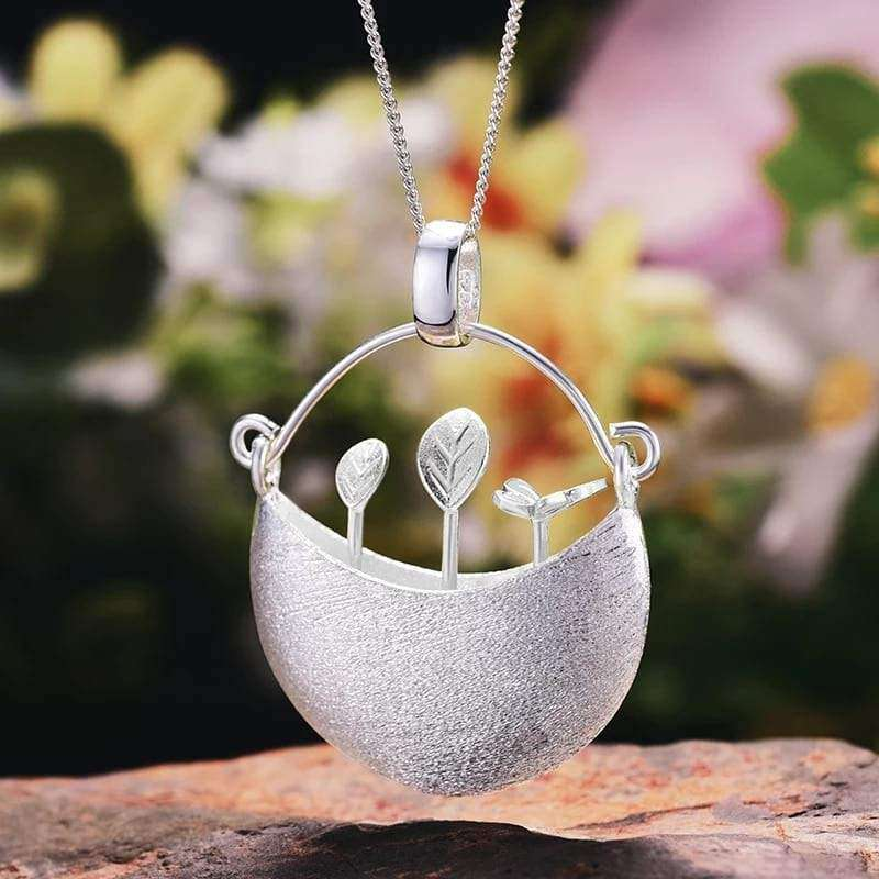 My Little Garden Sterling Silver Pendant And Necklace