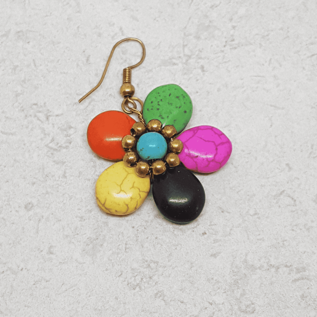 'Mystic Daisy' Handmade Stone Drop Earrings Earrings Handmade