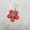 'Mystic Daisy'  Stone Red Dangle Earrings