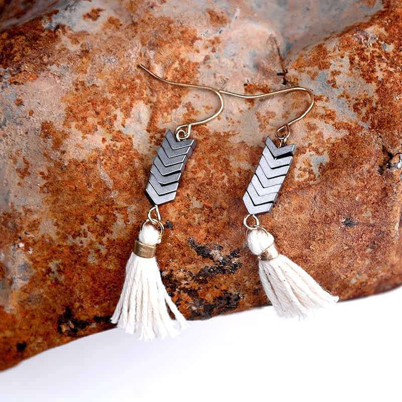 'Nature's Gift' Natural Ore Stone Drop Earrings