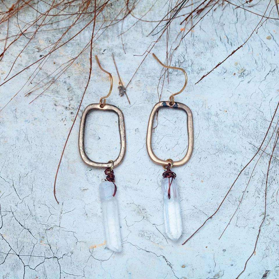 Open Rectangle Drop Earrings with Crystal Quartz Stones
